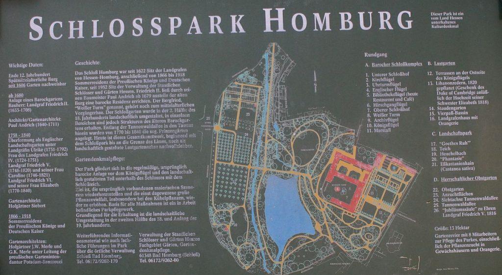 Plan Schlosspark Bad Homburg