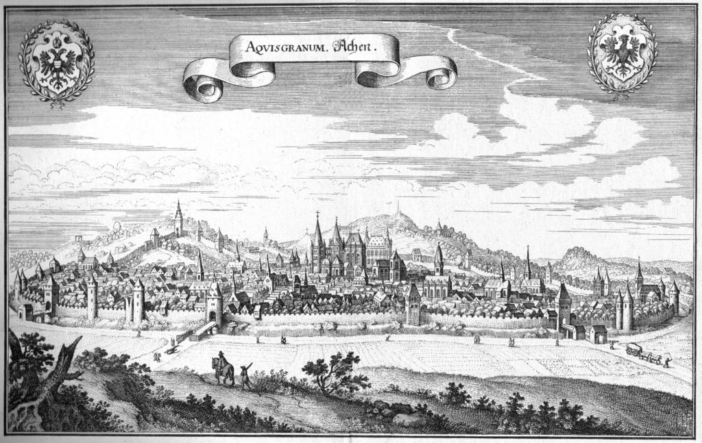 Ansicht von Aachen aus dem Jahr 1647 - Kupferstich von Mathias Merian Topographia Westphaliae (Westphalen), Topographia Germaniae