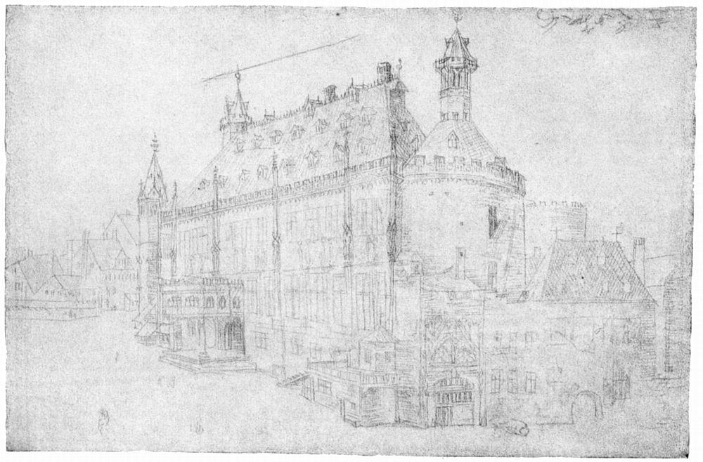 Aachener Rathaus - Zeichnung von Albrecht Dürer 1520