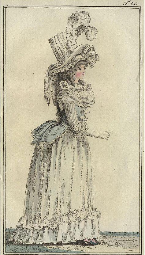 Bad-Bekleidung Dame in einem dekorierten Negligee mit einem Caraco-Corselet - Journal des Luxus und der Moden, Juni 1788, S. 290.