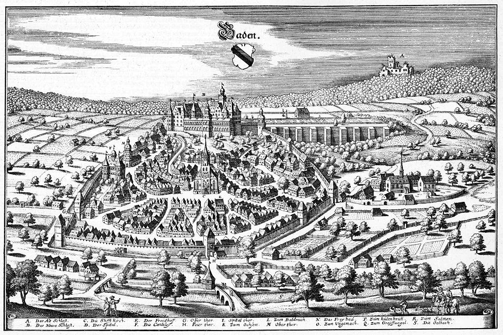 Stadtansicht Baden-Baden aus der Topographia Sueviae von Matthäus Merian, 1643