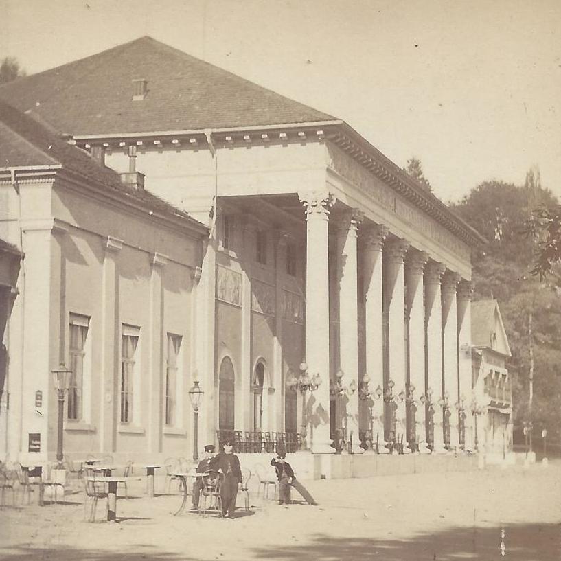 Numa Blanc: Konversationshaus Baden-Baden, Stereokarte um 1865, Ausschnitt.
