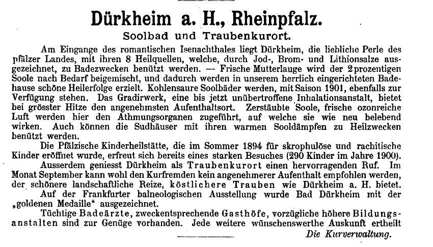 Werbeanzeige Bad Dürkheim Bäderalmanach 1895