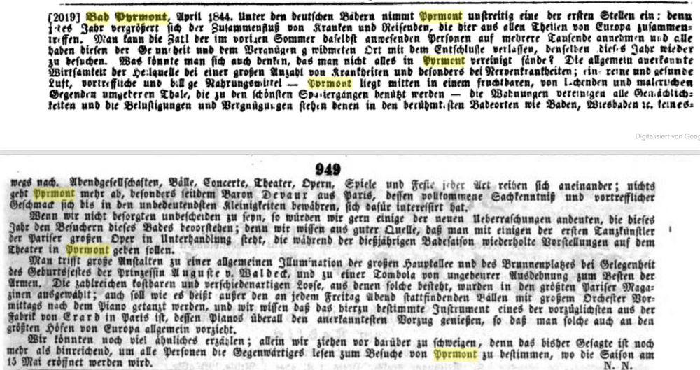 Allgemeine Zeitung München April 1844 - Bad Pyrmont