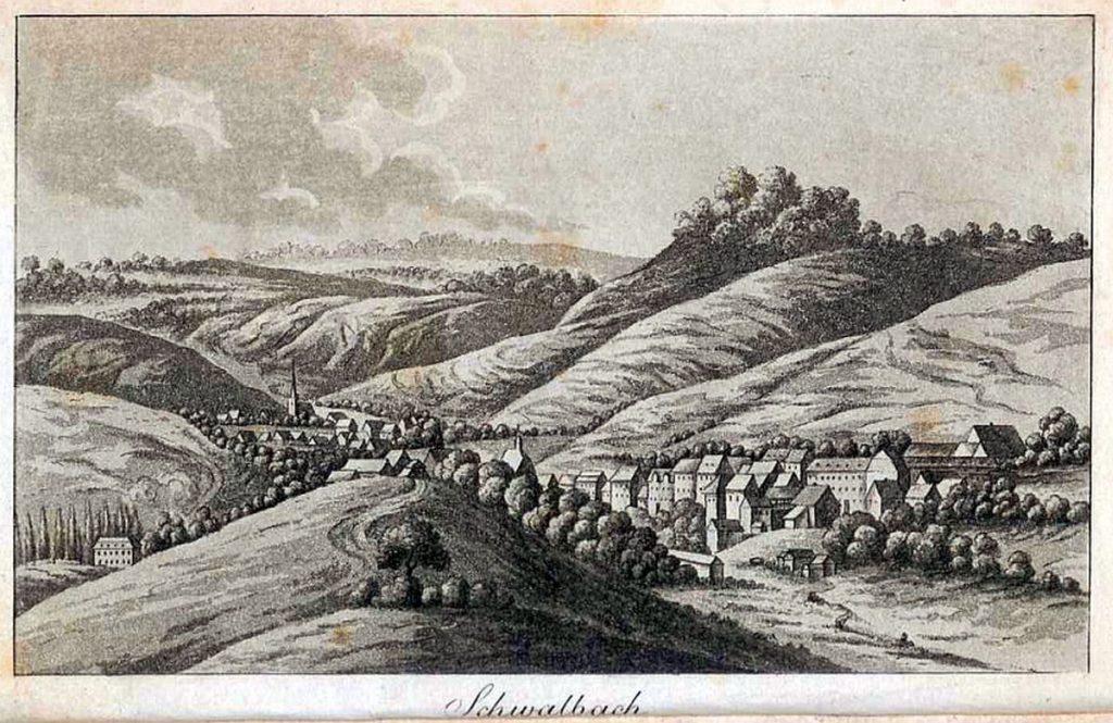 Schwalbach - Abbildung aus Fenner von Fenneberg: Schwalbach und seine Heilquellen, 1817; gemeinfrei